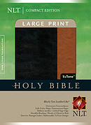 NLT Large Print, Compact Bible: Black  Tan Tu Tone Leatherlike