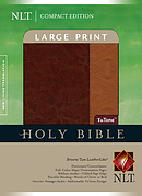 NLT Compact Bible: Brown & Tan TuTone, Leatherlike, Large Print