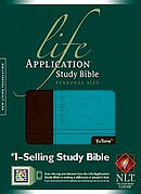 NLT Life Application Study Bible Personal Size Tutone Brown Teal Leatherlike