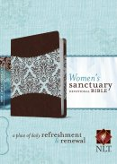 NLT Womens Sanctuary Devotional Bible: Espresso/Floral Fabric and Imitation Leather
