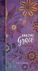 2019/2020 2 Year Pocket Planner: Amazing Grace (Purple with Orange Flowers)