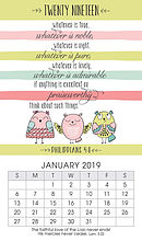 Whatever is Lovely 2019 Mini Magnetic Calendar