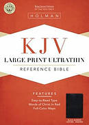 KJV Large Print Ultrathin Reference Bible: Black, Bonded Leather, Indexed