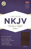 NKJV Deluxe Gift and Award Bible, Brown Imitation Leather