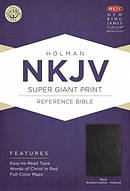 NKJV Super Giant Print Reference Bible, Black Bonded Leather Indexed