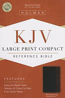 Kjv Large Print Compact Bible, Black/burgundy Leathertouch