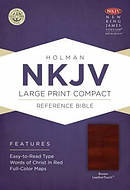Nkjv Large Print Compact Reference Bible, Brown Leathertouch With Celt