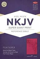 Nkjv Super Giant Print Reference Bible, Pink Leathertouch Indexed