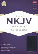 NKJV Giant Print Reference Bible, Black Genuine Leather Inde