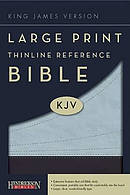 KJV Large Print Thinline Reference Bible Blue Imitation Leather