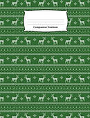 Composition Notebook: Green Reindeer Sweater Pattern Wide Ruled Notebook