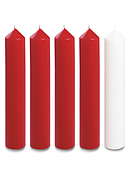"Red and White Advent Candle Set (2"" Diameter)"