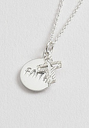 Silver Cross with Faith Round Pendant
