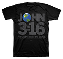 3:16 World T-Shirt: Black, Adult Large