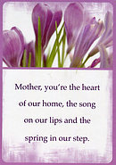 Mother You're The Heart Of Our Home Prayer Card