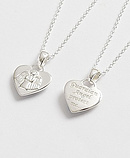 Sterling Silver Guardian Angel Heart Pendant