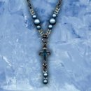 Blue Glo Beads and Cross Necklace Pack of 3
