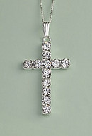 Large Crystal Cross Pendant Silver Plated