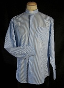 Men's Blue and White Striped Clerical Shirt 16