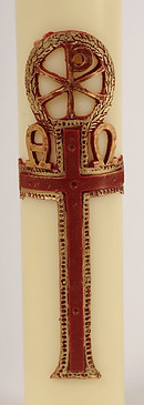 """PX Leaves and Circle Red Cross Wax Relief and Paschal Candle 36"""" x 2"""""""