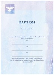Baptism Certificate Blue / Purple - Pack of 10