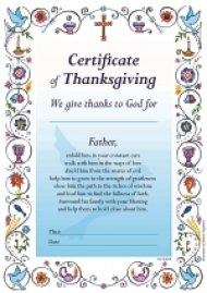 Certificate of Thanksgiving Blue - Pack of 20