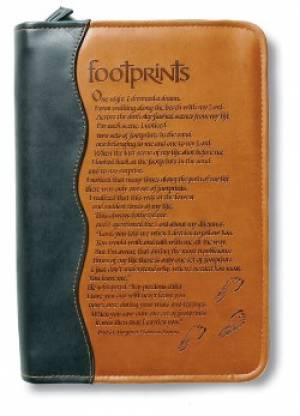Footprints Bible Cover Medium Ital Duo Tone