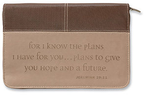 Jeremiah 29:11 Bible Cover: Chocolate & Toasted Almond, Large