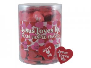 Pack Of Jesus Loves Me Heart Erasers
