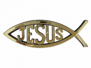 Jesus Car Fish Badge Gold