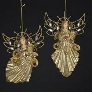ORNAMENT ANGEL GOLD 2PC