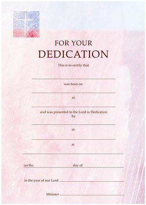 Dedication Certificate Pink - Pack of 10