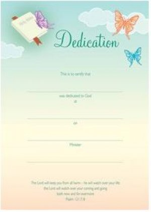 Dedication Certificate - Pack of 10