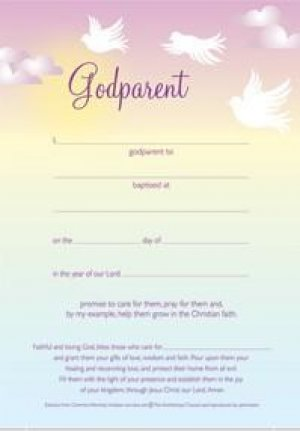 Dove Godparent Certificate - pack of 10