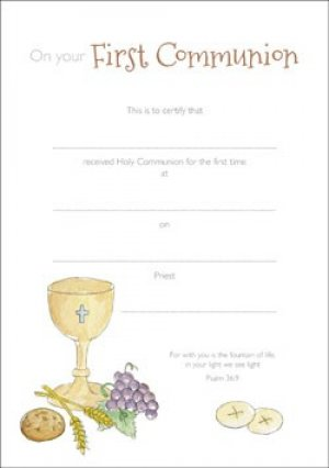 Certificate of First Communion Pack of 10