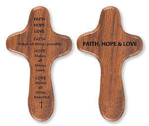 Faith Hope Love Wooden Holding Cross