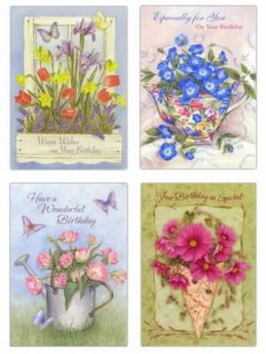 Assorted Garden Of Blessing Birthday Cards - Pack of 12