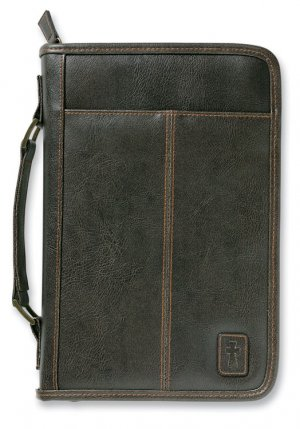 Aviator Leather Look Bible Cover: Brown, Large