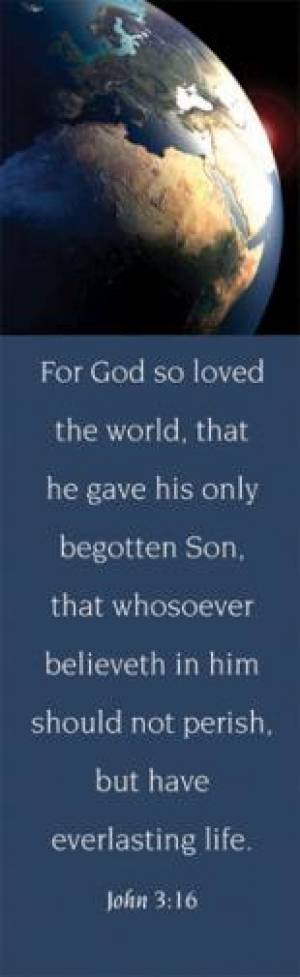 John 3:16 KJV Adult Globe Bookmark Pack of 25