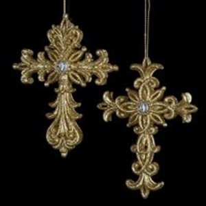 ORNAMENT GOLD GLITTER CROSS