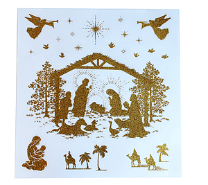 Nativity Festive Gold Glitter Window Stickers