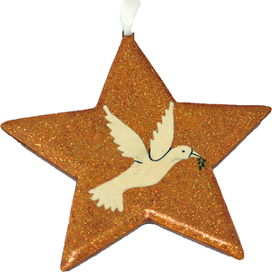 Gold Glitter Dove Star Christmas Decoration