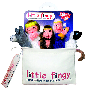 Nativity Hand Knitted Finger Puppets and Bag