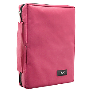 Promo Poly-Canvas Bible / Book Cover w/Fish Applique (Pink) - Large
