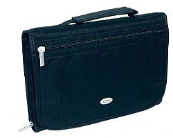 Three-Fold Organizer (Black) Polyester Bible Cover- Medium