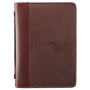 Names of Jesus (Burgundy) Two-tone LuxLeather Bible Cover, Large