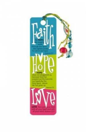 """ Faith Hope & Love "" Bookmark with Beads"