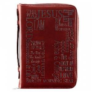 Names of Jesus (Burgundy) Bible Cover- Medium