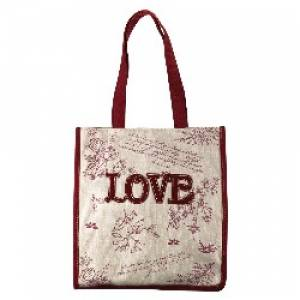 Red Floral Canvas Tote Bag -