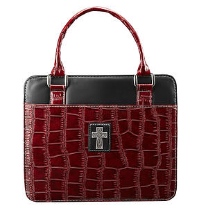 Cross (Burgundy) Croc-Embossed Patent Purse-Style Bible Cover- Medium